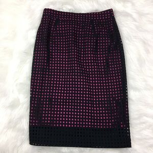 🦋 Halogen Cotton Blend Pink Black Pencil Skirt  4